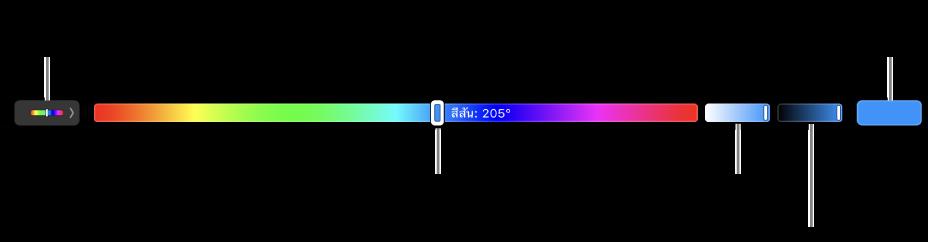 Touch Bar ที่กำลังแสดงตัวเลื่อนสีสัน ความอิ่มตัว ความสว่างของรุ่น HSBปลายด้านซ้ายคือปุ่มเพื่อแสดงโปรไฟล์ทั้งหมด ที่ด้านขวาคือปุ่มเพื่อบันทึกสีที่กำหนดเอง