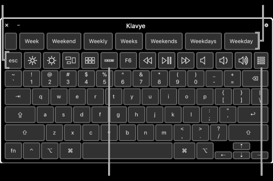 Üst kısımda yazma önerilerinin olduğu Erişilebilirlik Klavyesi. Aşağıdaki; ekran parlaklığını ayarlama, Touch Bar'ı ekranda gösterme ve özel panelleri gösterme gibi işlemleri yapmak için kullanılan sistem denetimlerine ait düğme sırasıdır.