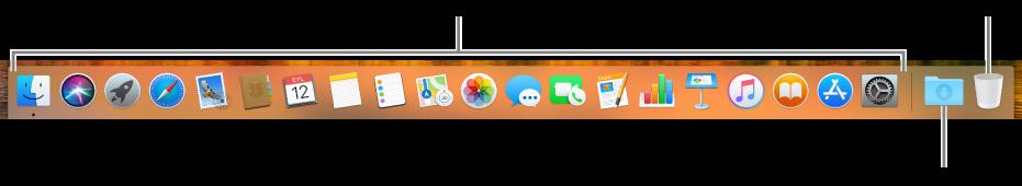 Uygulama simgelerini, İndirilenler yığını simgesini ve Çöp Sepeti simgesini gösteren Dock.