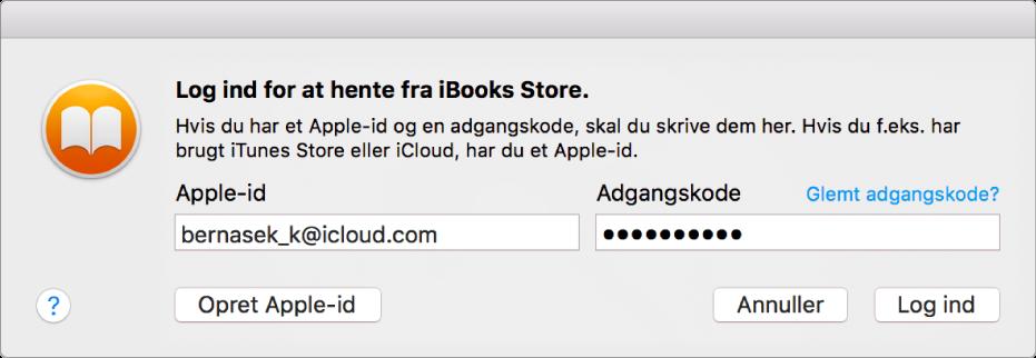 Den dialog, der bruges til at logge ind med et Apple-id og en adgangskode.