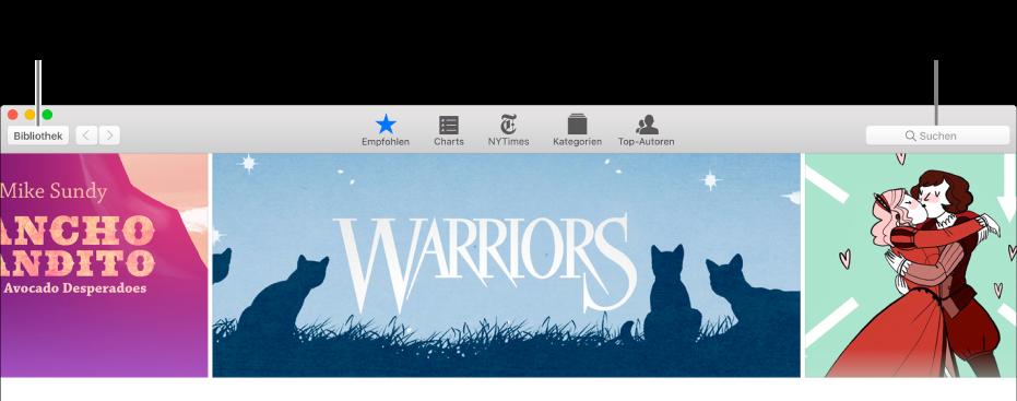 """Die Symbolleiste im iBooks Store. Klicke auf """"Bibliothek"""", um wieder zur Bibliothek zu gelangen."""