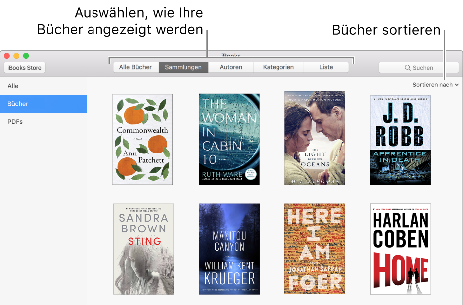 Eine Sammlung von Bücher in einer iBooks-Bibliothek