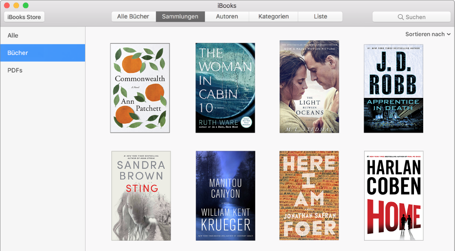"""Die Darstellung """"Sammlungen"""" in der iBooks-Bibliothek mit den Sammlungen """"Alle"""", """"Bücher"""" und """"PDFs"""" in der Liste links."""
