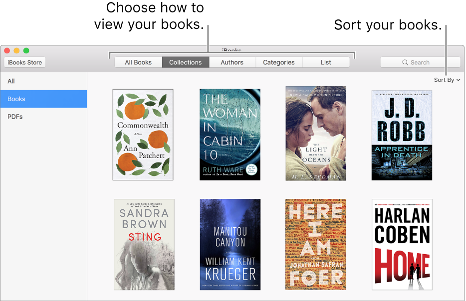 A collection of books in an iBooks library.