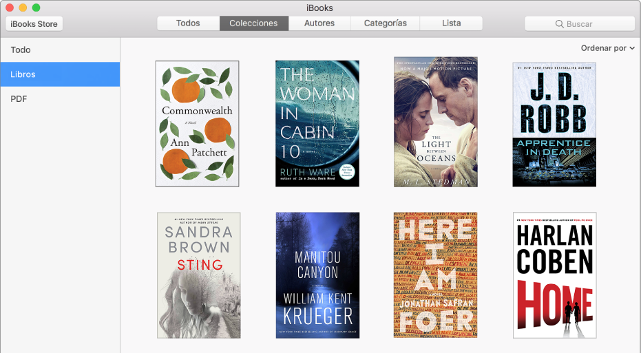 La vista Colecciones de la biblioteca de iBooks mostrando Todo, Libros y PDF en la lista de colecciones a la izquierda.