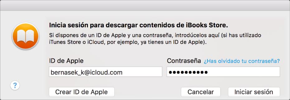 Cuadro de diálogo para iniciar sesión con el ID de Apple y la contraseña.