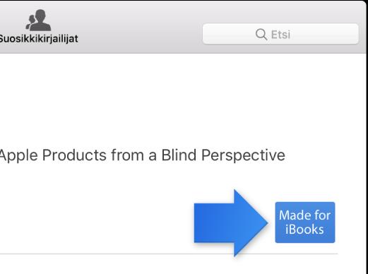 Kirjan esittelysivu ja Made for iBooks -merkki.