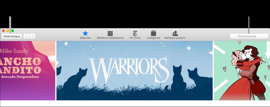 La barre d'outils de l'iBooksStore. Cliquez sur Bibliothèque pour revenir à votre bibliothèque.