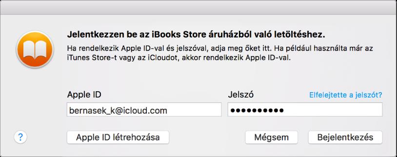 Párbeszédablak, amelyen bejelentkezhet az Apple ID-val és jelszóval.