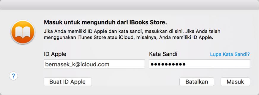 Dialog untuk masuk menggunakan ID Apple dan kata sandi.