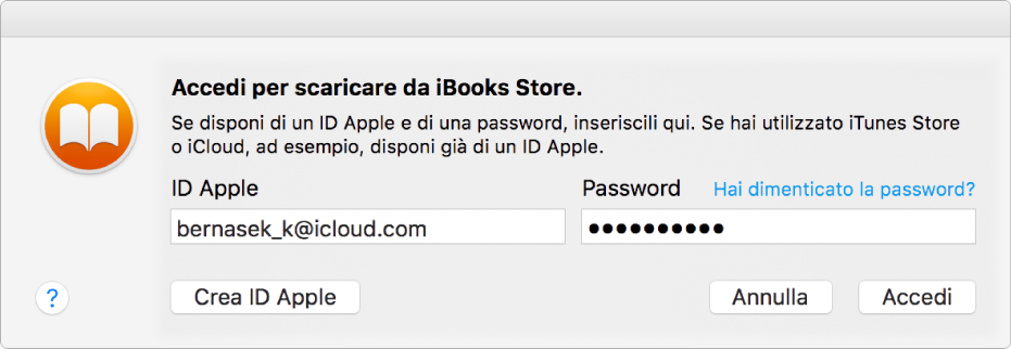 La finestra di dialogo per accedere utilizzando un ID Apple e una password.