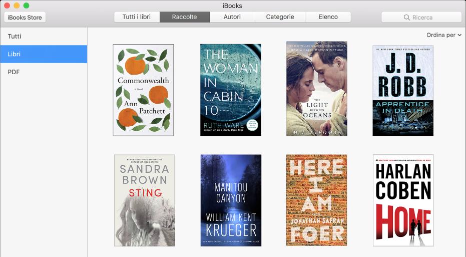 La vista Raccolte della libreria iBooks che mostra Tutti, Libri e PDF nell'elenco delle raccolte a sinistra.