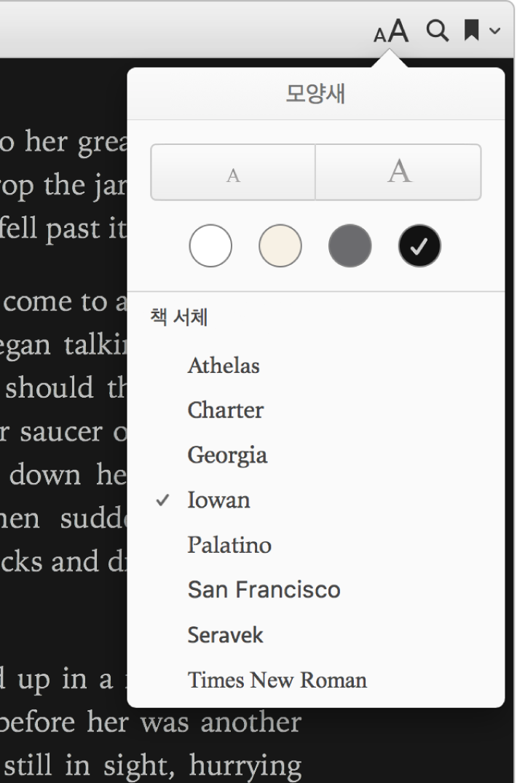 모양새 메뉴의 텍스트 크기, 배경 색상 및 서체 제어.