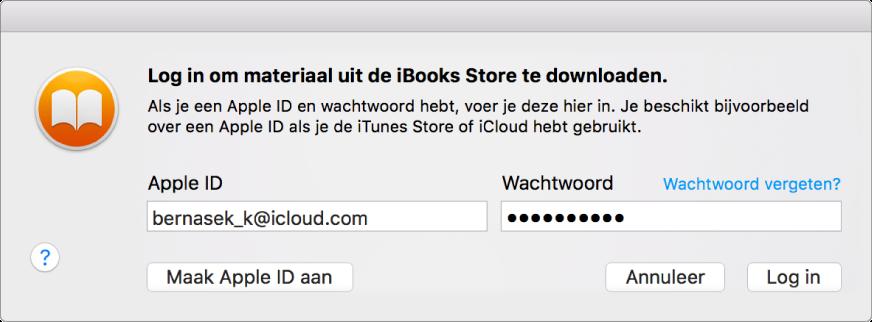 Het dialoogvenster waarmee je inlogt met een AppleID en wachtwoord.