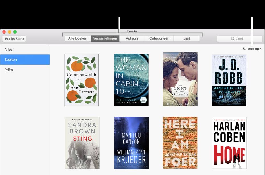 Een verzameling boeken in een iBooks-bibliotheek.