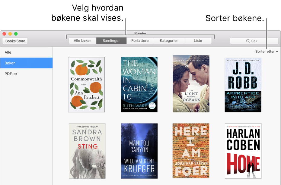 En boksamling i et iBooks-bibliotek.