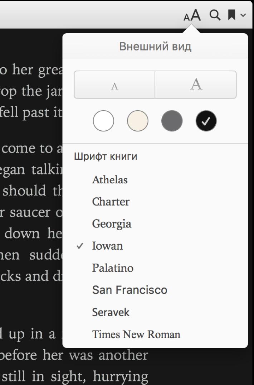 Элементы управления размером текста, фоновым цветом и шрифтом в меню «Внешний вид».