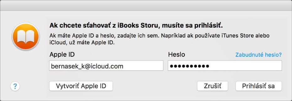 Dialógové okno na prihlásenie pomocou AppleID ahesla.