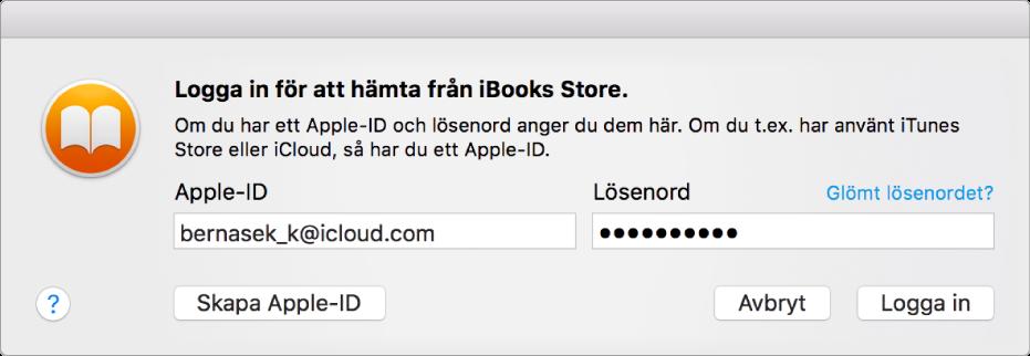 Dialogrutan för inloggning med ett Apple-ID och lösenord.