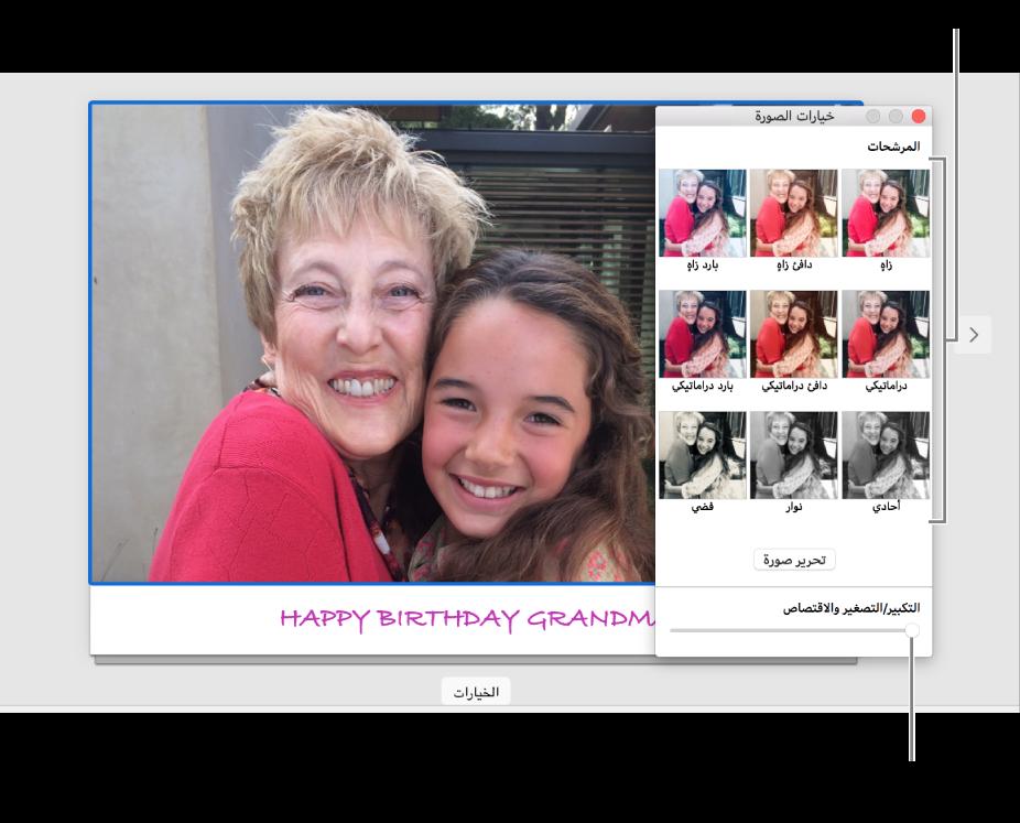 نافذة خيارات الصور لبطاقة، تعرض شريط تمرير التكبير/التصغير والاقتصاص في الجزء السفلي وخيارات المؤثرات في الجزء العلوي.