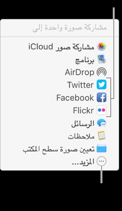 قائمة المشاركة تعرض ملحقات جهات خارجية مثل Flickr.