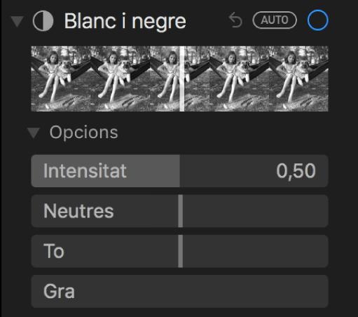 """La zona """"Blanc i negre"""" del tauler Ajustar, amb els reguladors Intensitat, Neutres, To i Gra."""