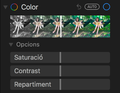 La zona Color del tauler Ajustar, amb els reguladors Saturació, Contrast i Repartiment.