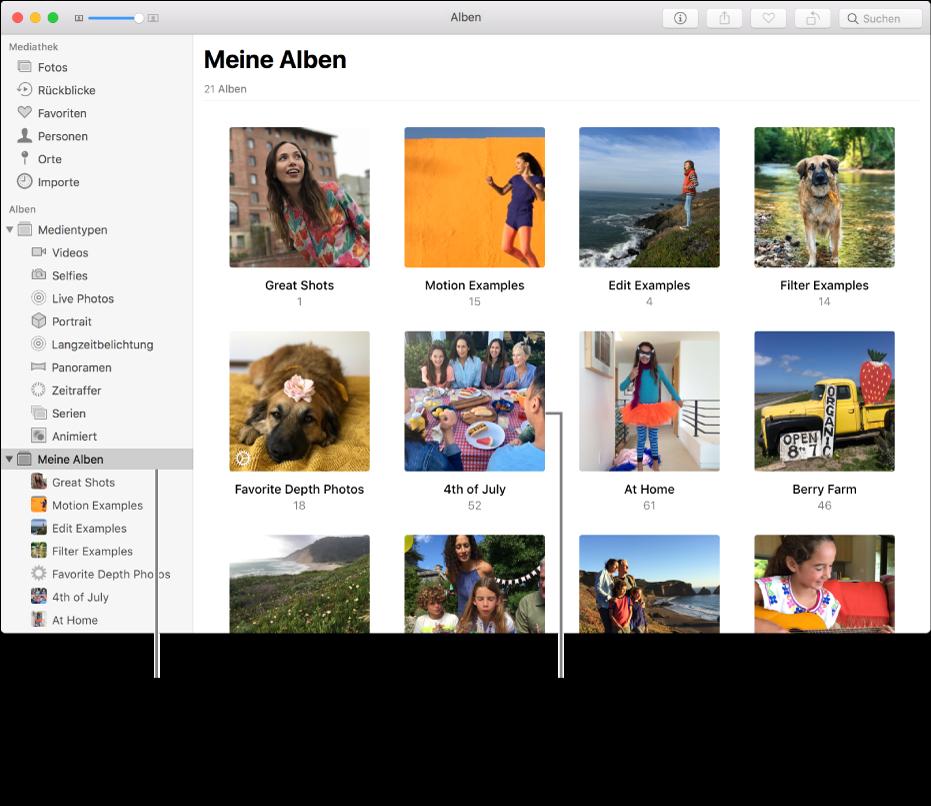 """Das Fenster """"Fotos"""" mit ausgewähltem Ordner """"Meine Alben"""" in der Seitenleiste und den von dir erstellten Alben auf der rechten Fensterseite"""