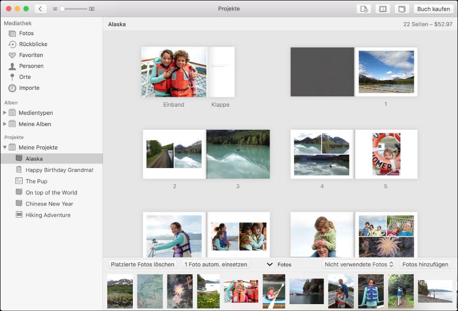 """Das Fenster """"Fotos"""" mit geöffnetem Buchprojekt und den auf den Seiten angeordneten Fotos"""
