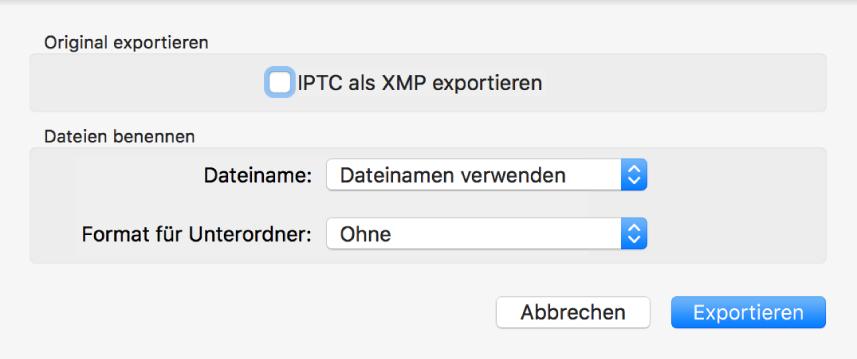 """Dialogfenster """"Original exportieren"""" mit Exportoptionen"""