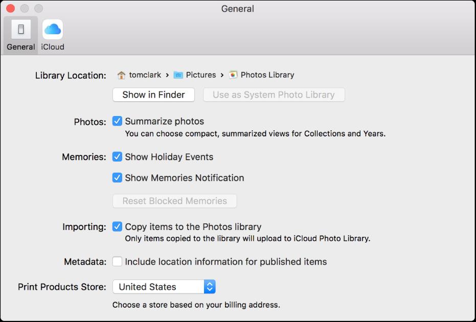 General pane of Photos preferences.