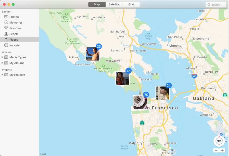 Photos window showing a map with photo thumbnails grouped by location.