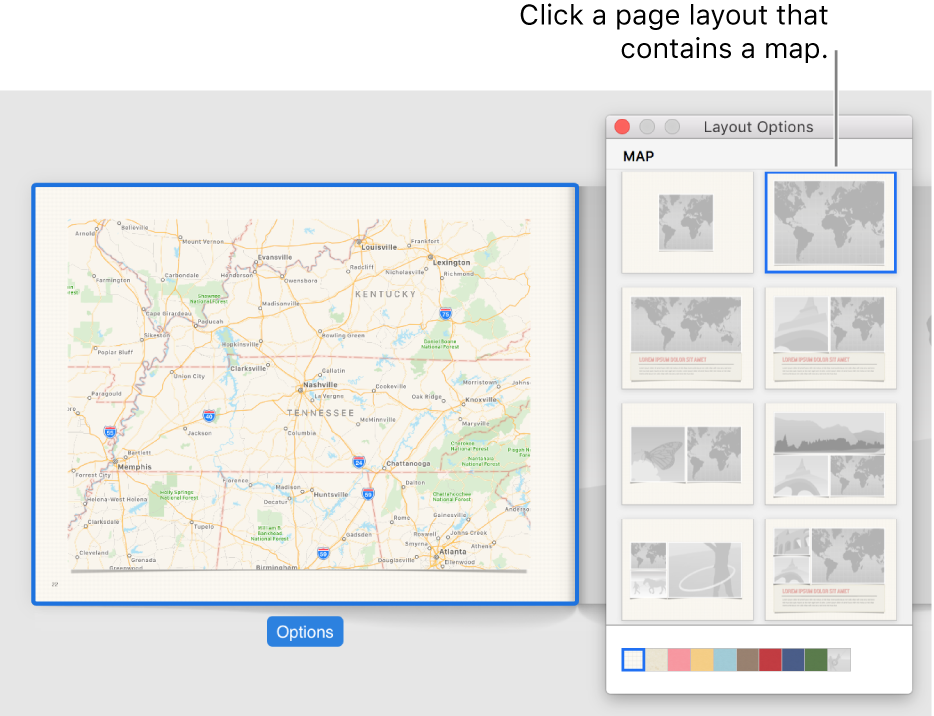 Layout Options window showing map layouts.