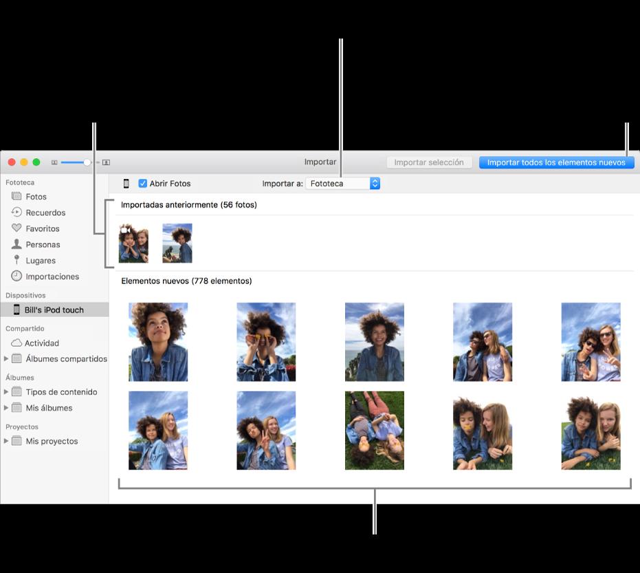 """Las fotos en el dispositivo que ya importaste se muestran en la parte superior del panel; las fotos nuevas se muestran en la parte inferior. En parte central superior se encuentra el menú desplegable """"Importar a"""". El botón """"Importar todas las fotos nuevas"""" se encuentra en la parte superior derecha."""