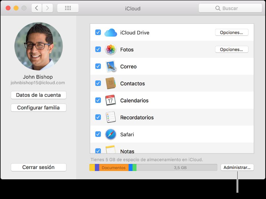 Panel iCloud de las Preferencias del Sistema.