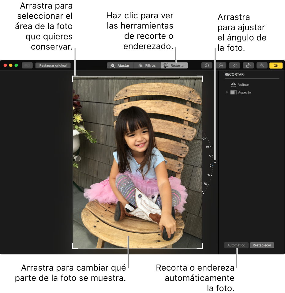 Ventana que muestra una foto con las opciones recortar y enderezar.