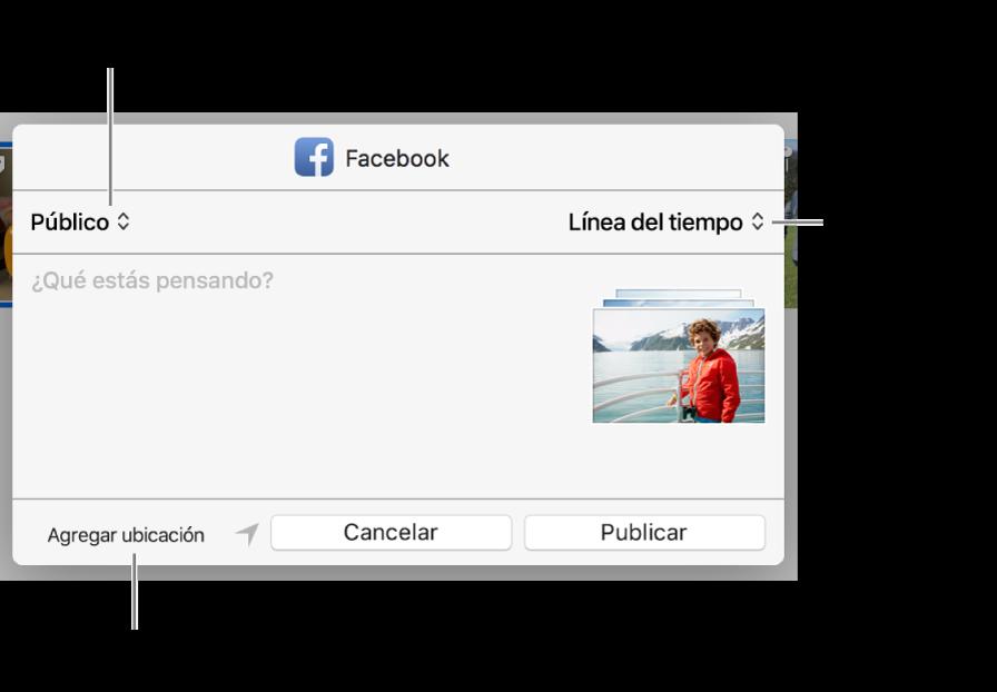 Cuadro de diálogo para compartir en Facebook.