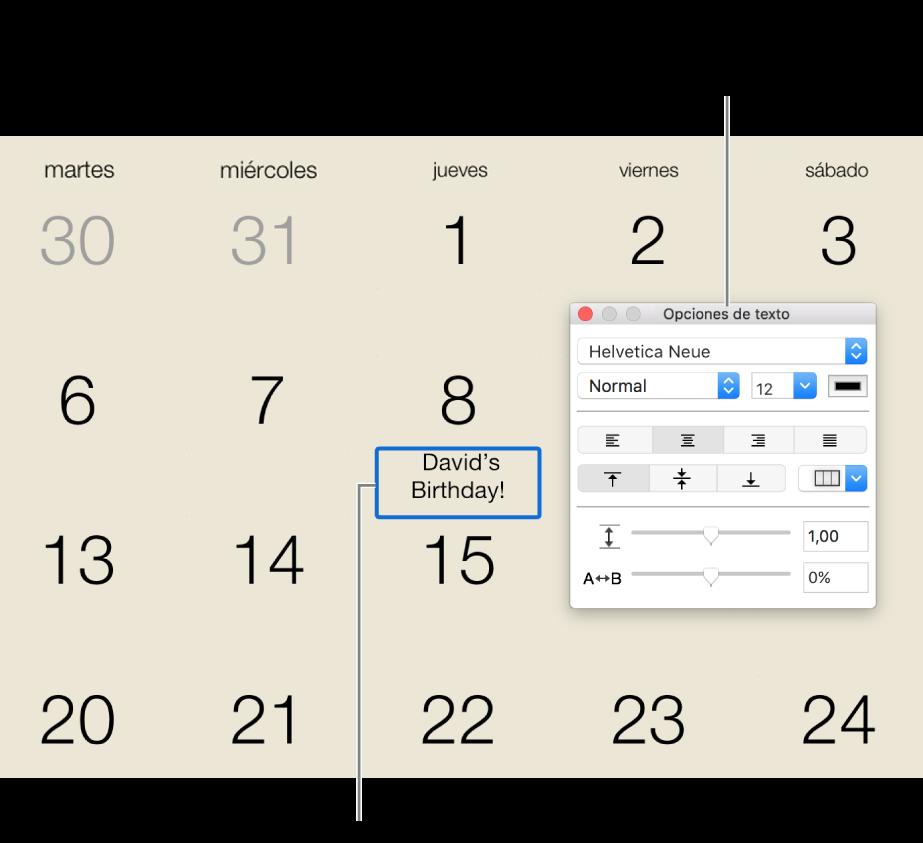 """Una fecha de calendario con texto agregado y la ventana """"Opciones de texto"""" a la derecha."""