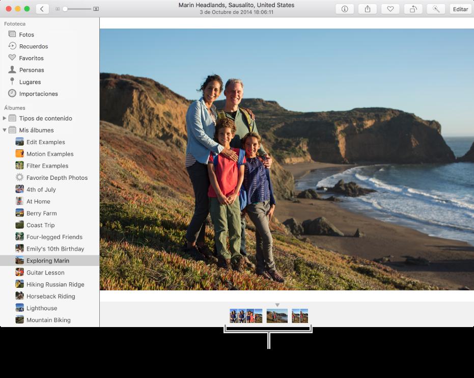 La ventana de Fotos mostrando fotos en el mismo álbum o colección bajo la foto.