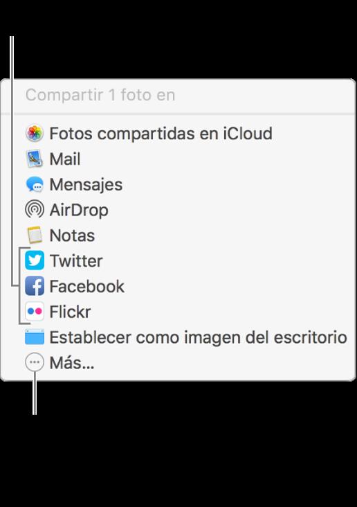 Menú Compartir con extensiones de terceros, como Flickr.