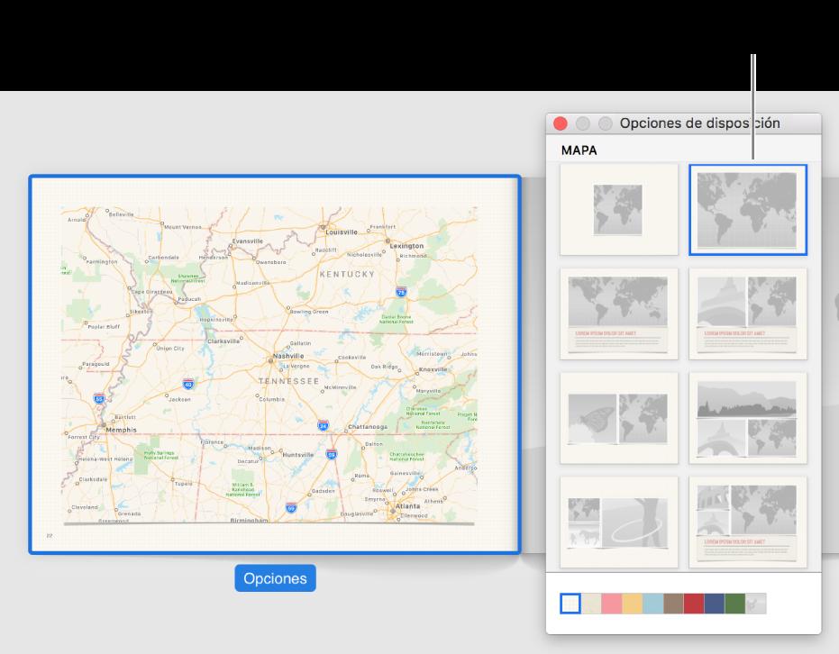 """Ventana """"Opciones de disposición"""" con las disposiciones de mapa."""