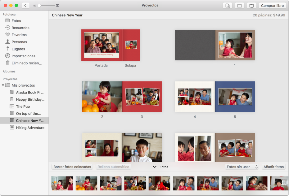 Ventana de Fotos con páginas de un libro.