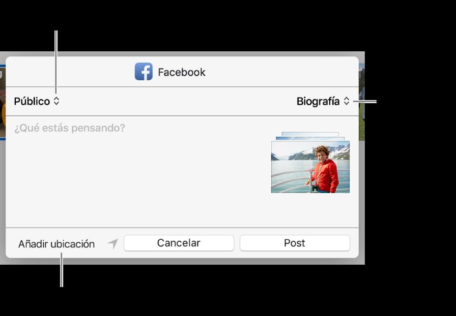 Cuadro de diálogo de compartir en Facebook.