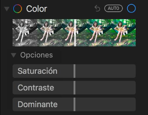 El área Color del panel Ajustar con reguladores para Saturación, Contraste y Dominante.