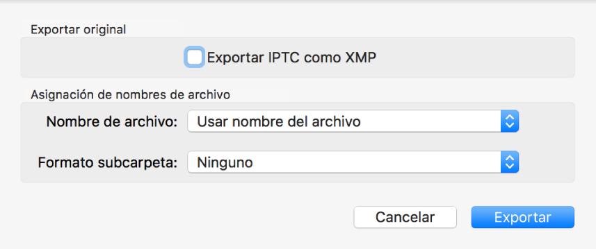 """Cuadro de diálogo """"Exportar original"""" con las opciones de exportación."""