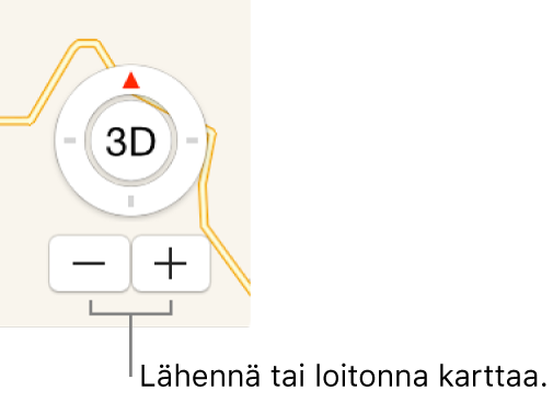 Zoomauspainikkeet kartalla.