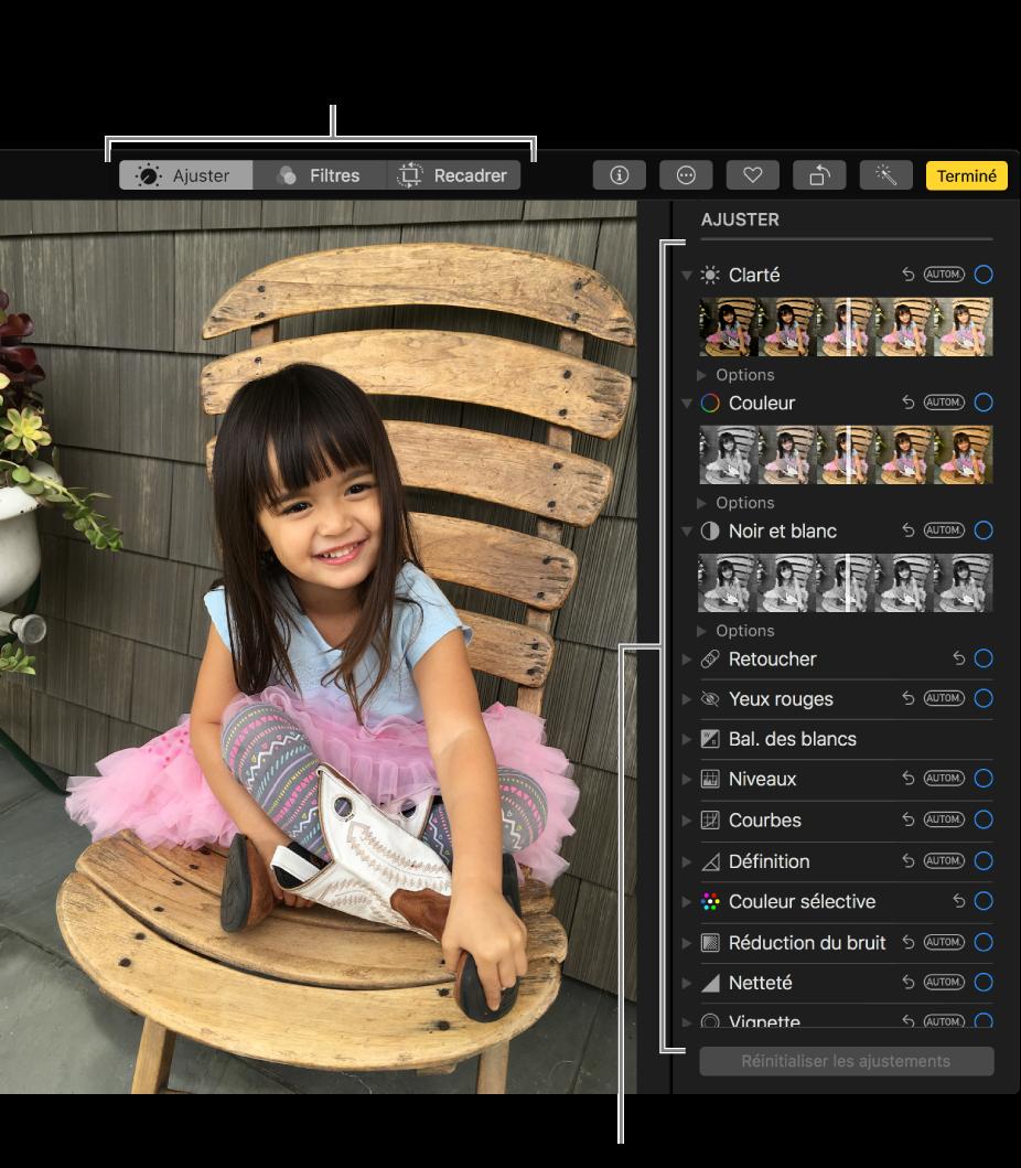 Une photo en mode édition, avec les outils d'édition sur la droite.