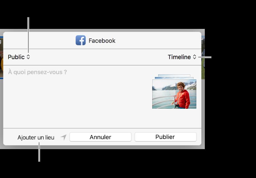 Zone de dialogue de partage sur Facebook.