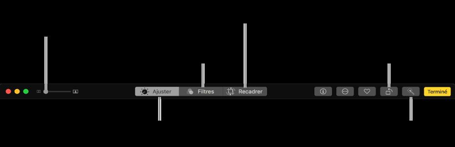 Barre d'outils d'édition affichant les boutons pour ouvrir les ajustements, les filtres et les options de recadrage.