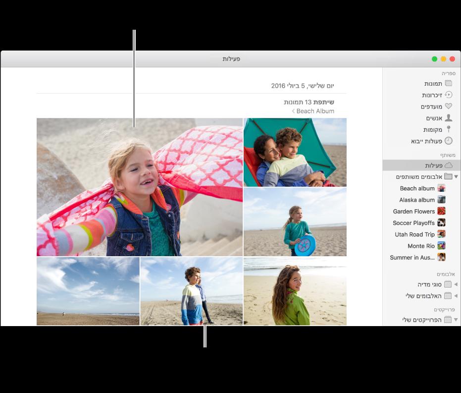 החלון ״תמונות״ שבו מוצג האלבום ״פעילות״.